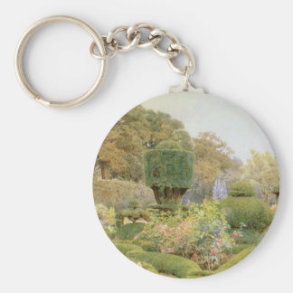 Vintage English Garden, Roses and Pinks by Elgood Keychain