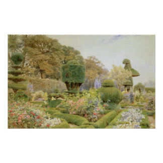 Vintage English Garden, Roses and Pinks by Elgood Poster