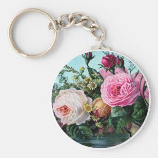 Vintage English garden Roses Art, shabbychic gift Key Chains