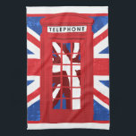 """Vintage English Phone Booth Kitchen Towel<br><div class=""""desc"""">Vintage English Phone Booth Kitchen towels with roses and stripes,  additional London products &amp; gifts available at MetroDesignz on Zazzle. For customized graphics and products please contact Metro-Designs.com</div>"""
