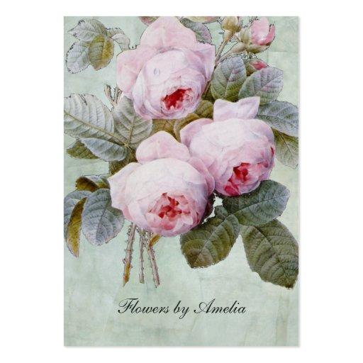 Vintage English Rose Garden Botanical Chubby Business Card