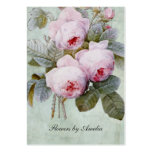Vintage English Rose Garden Botanical Chubby Large Business Cards (Pack Of 100)