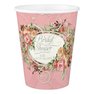 Vintage English Rose Swirl Bridal Shower Tea Party Paper Cup