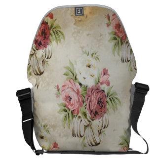 Vintage English Roses Pink Mauve Creme Ribbons Messenger Bag