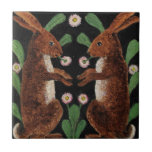 """Vintage English Tapestry Design Bunny Rabbits Tile<br><div class=""""desc"""">Who can resist this colorful tile with English Tapestry inspired Bunny Rabbit friends?  A thoughtful and different gift for your favorite people.  Please check out the rest of bunny&#39;s friends and consider one in every basket for Easter or any type of decorating at CrazyCathiCreations</div>"""