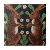 Vintage English Tapestry Design Bunny Rabbits Tile