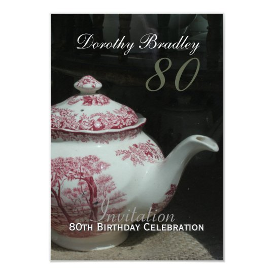 Vintage english teapot 80th birthday invitation zazzle vintage english teapot 80th birthday invitation filmwisefo