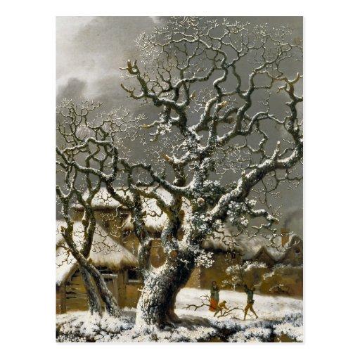 Vintage English Winter Landscape print Postcard