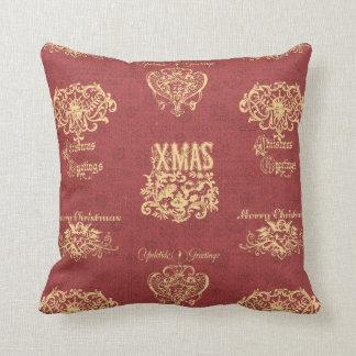 Vintage Engraved Christmas Greetings Pillow