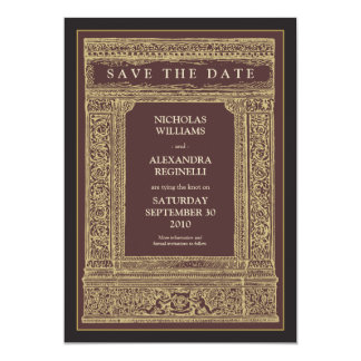 Vintage Engraved Frame Save the Date (brown/gold) Card