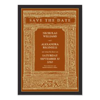 Vintage Engraved Frame Save the Date (orange/gold) Card