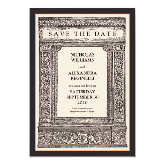 Vintage Engraved Frame Save the Date (peach/black) Card