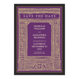Vintage Engraved Frame Save the Date (purple/gold) Card