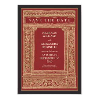 Vintage Engraved Frame Save the Date (red/gold) Card