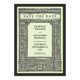 Vintage Engraved Frame Save the Date (sage/black) Card