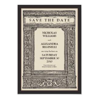 Vintage Engraved Frame Save the Date (sepia/black) Card