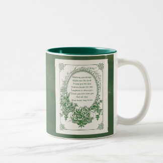 Vintage Engraved Irish Blessing and Floral Frame Two-Tone Coffee Mug