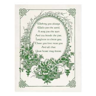 Vintage Engraved Irish Blessing with Floral Frame Postcard