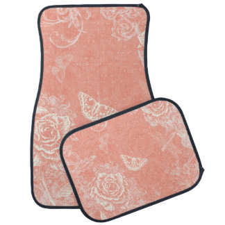 Vintage Engraved Roses Car Floor Mat