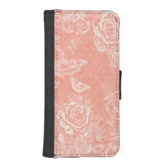 Vintage Engraved Roses iPhone SE/5/5s Wallet Case