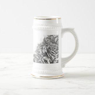 Vintage Engraved Roses Stein 18 Oz Beer Stein
