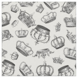 Vintage Engraved Royal Crowns Fabric
