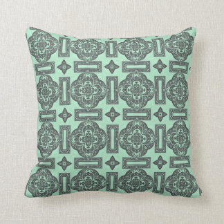 Vintage Engraving Moroccan mint green & gray Throw Pillow