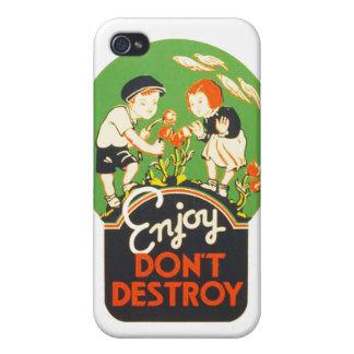 Vintage Enjoy Don't Destroy WPA Poster iPhone 4/4S Case