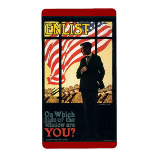"""Vintage """"Enlist"""" Recruiting poster Shipping Label"""