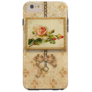 Vintage enmarcado subió en el damasco del oro funda para iPhone 6 plus tough