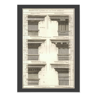 Vintage Entablatures, Orders of Architecture 5x7 Paper Invitation Card