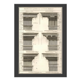 Vintage Entablatures, Orders of Architecture Personalized Announcements
