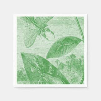 Vintage Entomology Green Katydid Flying Leaf Paper Napkin