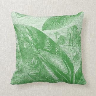 Vintage Entomology Green Katydid Flying Leaf Throw Pillow
