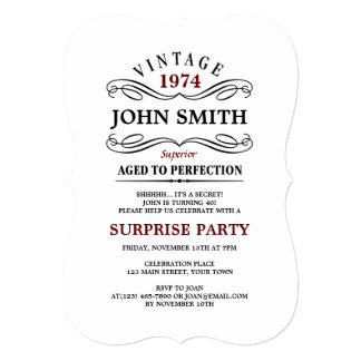 """Vintage envejecido al cumpleaños divertido de la invitación 5"""" x 7"""""""