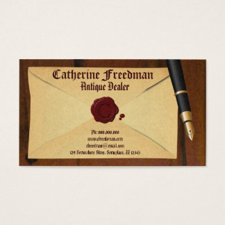 Vintage Envelope and Fountain Pen Antique Dealer Business Card