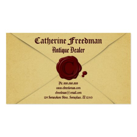 Old Parchment Paper Vintage Envelope and Red Wax Seal Antique Dealer Business Cards