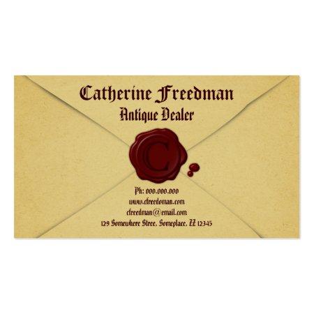 Old Parchment Paper Vintage Envelope and Red Wax Seal Antique Dealer Business Cards