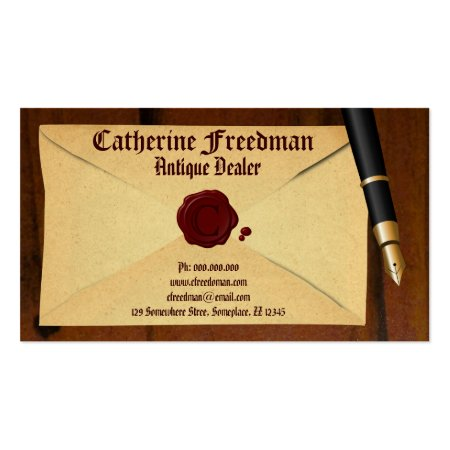 Old Vintage Envelope with Red Wax Seal Fountain Pain Wooden Background Business Cards