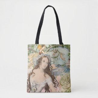 Vintage Ephemera Fairies and Flowers Tote Bag