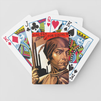 Vintage Equal Pay Work Women Factory Poker Cards