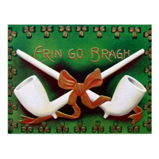Vintage Erin Go Bragh Pipes Shamrocks St Patrick's Postcard