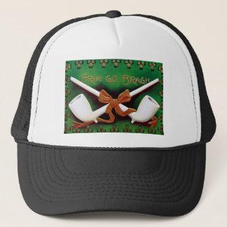 Vintage Erin Go Bragh Pipes Shamrocks St Patrick's Trucker Hat