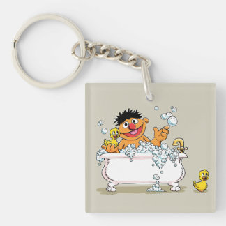 Vintage Ernie en bañera Llavero Cuadrado Acrílico A Doble Cara