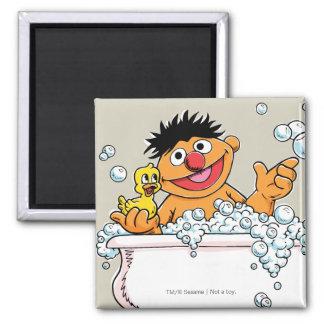 Vintage Ernie in Bathtub 2 Inch Square Magnet