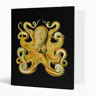 Vintage Ernst Haeckel Octopus in Yellow 3 Ring Binder