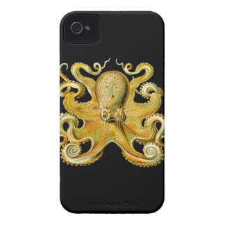 Vintage Ernst Haeckel Octopus in Yellow iPhone 4 Case-Mate Cases