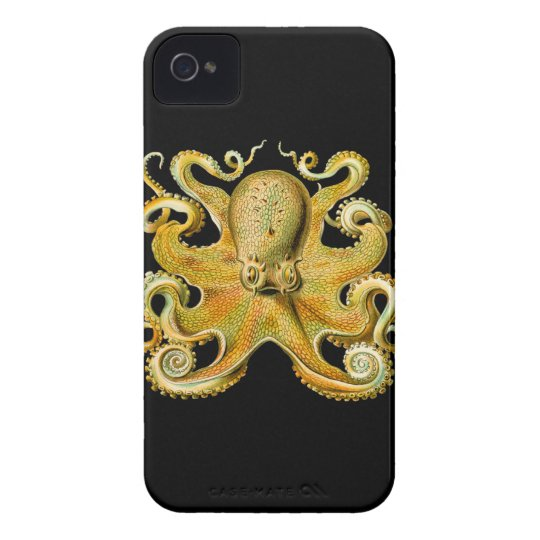 Vintage Ernst Haeckel Octopus in Yellow iPhone 4 Case