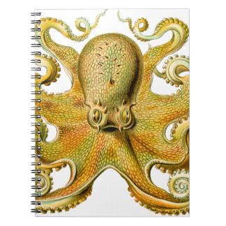 Vintage Ernst Haeckel Octopus in Yellow Spiral Notebook