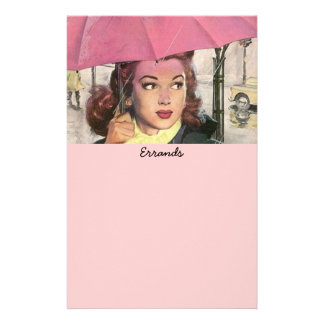 vintage Errands in Rain Shopping List Lists Paper Stationery Paper
